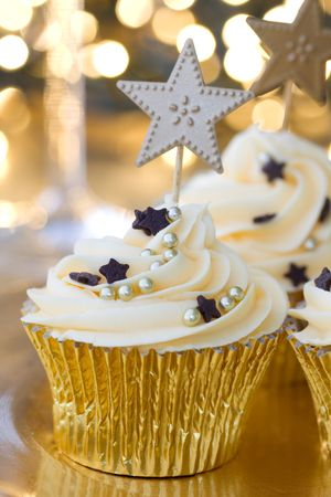 New Year celebration cupcakes