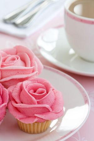 high tea: Rose cupcakes