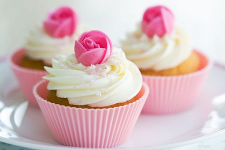 Rosebud cupcakes Stock Photo - 6239307
