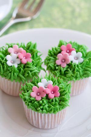 Cupcakes de jard�n de flores