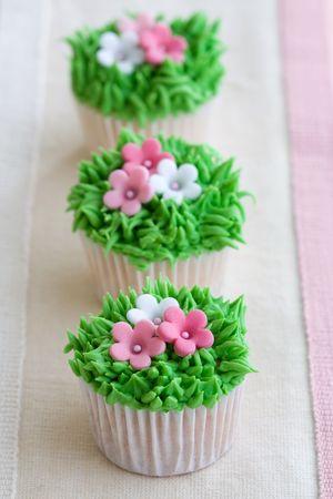 baking cake: Flower garden cupcakes
