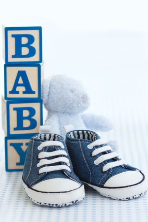 soft toy: Blue baby shoes