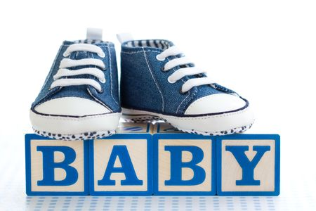 baby blocks: Blue baby shoes