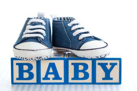 jouet b�b�: Chaussures b�b� bleu  Banque d'images