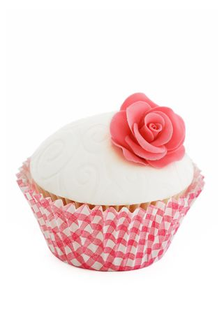 gingham: Pink rose cupcake Stock Photo