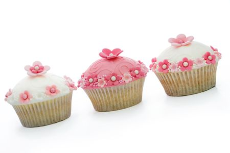 cupcakes isolated: Pink and white cupcakes