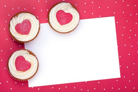 Valentine background with cupcakes photo