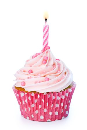 white candle: Pink birthday cupcake