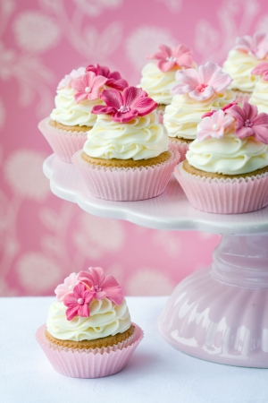 Pink flower cupcakes  Stock Photo - 6679982