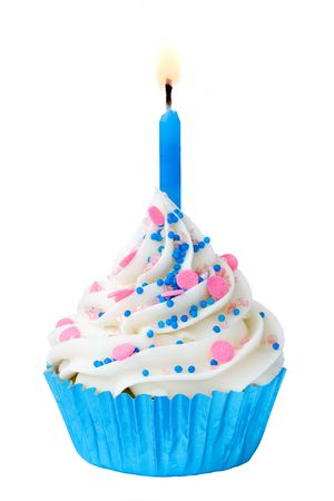 Blue birthday cupcake photo