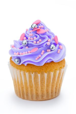 cake with icing: Purple cupcake