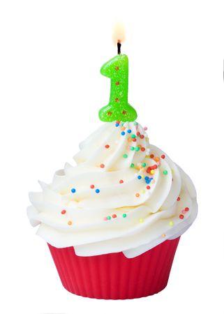 fattening: Birthday cupcake Stock Photo