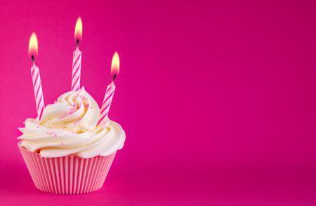 third: Birthday cupcake Stock Photo