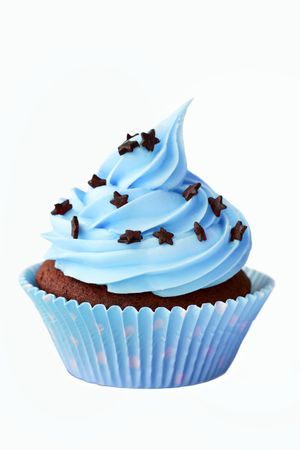chocolate sprinkles: Blue cupcake Stock Photo