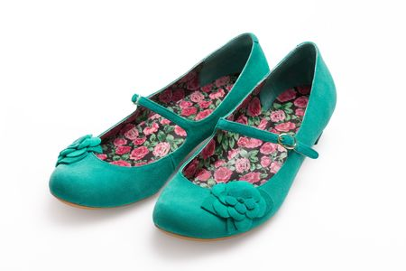 Ladies green suede shoes Stock Photo