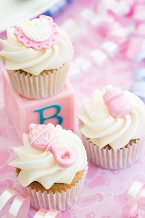 Cupcakes for a baby shower Stock Photo - 6953194