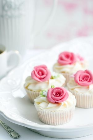 gum paste: Rose cupcakes  Stock Photo