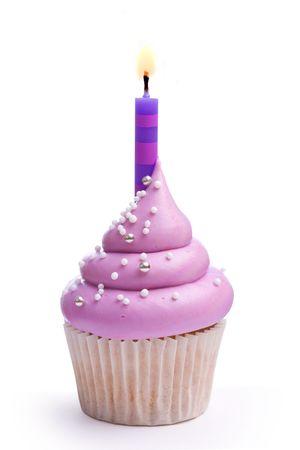 cupcakes isolated: Birthday cupcake Stock Photo