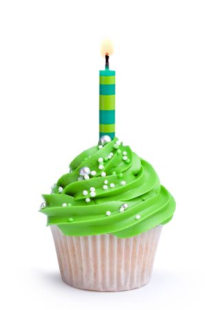 white candle: Birthday cupcake Stock Photo