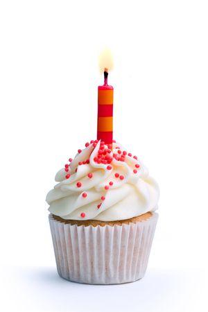 gateau bougies: Anniversaire cupcake Banque d'images