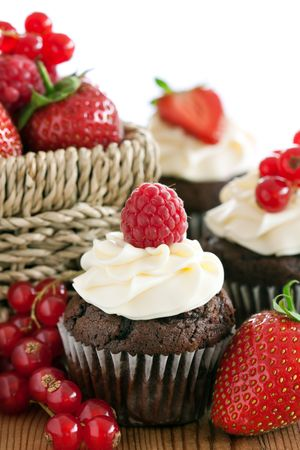 Red berry cupcakes photo