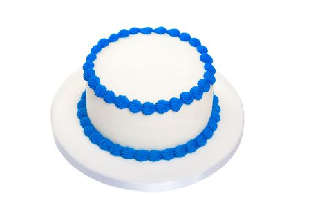 cake with icing: Blank birthday cake Stock Photo