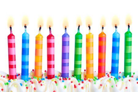 gateau anniversaire: Anniversaire bougies Banque d'images