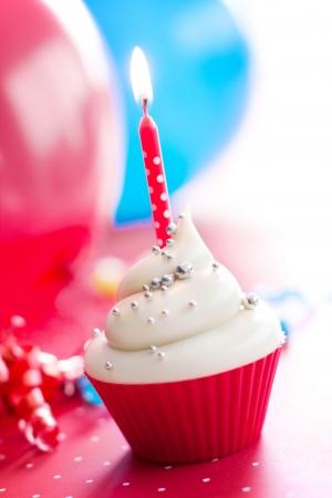 first birthday: Birthday cupcake Stock Photo