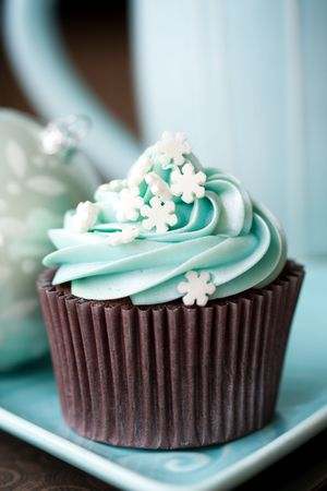 chocolate cupcakes: Christmas cupcakes Stock Photo