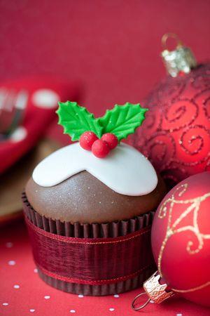 fondant: Cupcake Natale