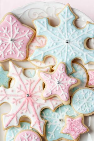 baking cookies: Snowflake cookies  Stock Photo