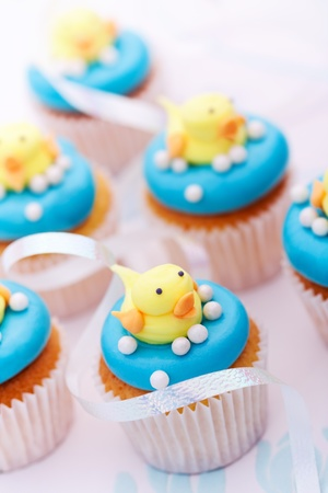 ducklings: Baby shower cupcakes Stock Photo