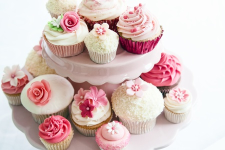 afternoon fancy cake: Cupcake selection Stock Photo