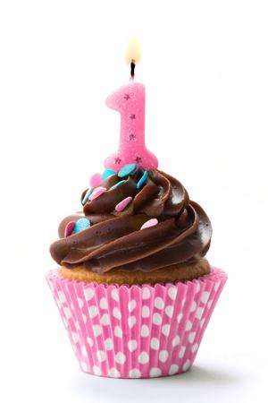 torta compleanno: Cupcake compleanno Archivio Fotografico