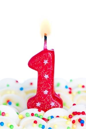 anniversaire: Bougie numéro un Banque d'images