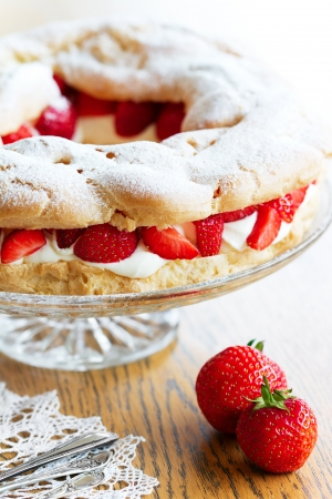 Strawberry choux pastry ring photo