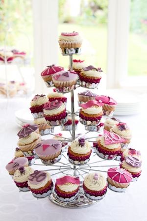 cake stand: 40th birthday cupcakes