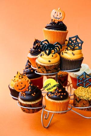 happy halloween: Halloween cupcakes Stock Photo