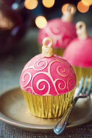fondant: Natale cupcakes Archivio Fotografico
