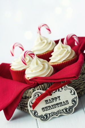 gift basket: Christmas cupcakes Stock Photo