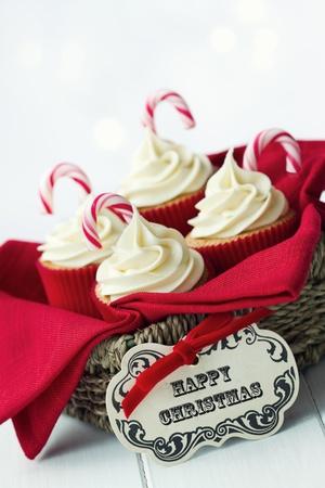giftbasket: Kerst cupcakes Stockfoto