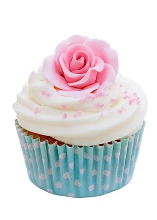 cupcake: Rose g�teau Banque d'images