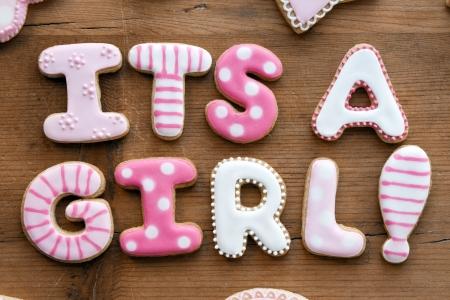 sweet baby girl: Las cookies Baby shower Foto de archivo