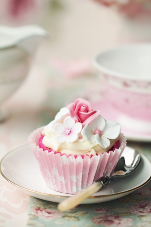 afternoon tea: Flower cupcake Stock Photo