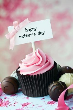 Cupcake para el d�a de la madre Foto de archivo