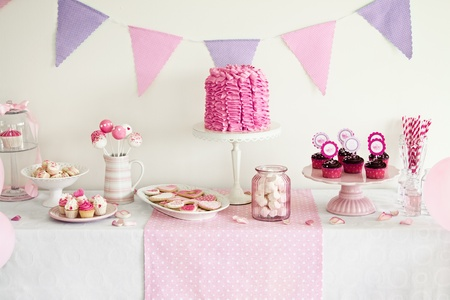 party table: Dessert table for a party Stock Photo