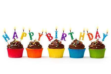 happy birthday cake: Cupakes cumplea�os Foto de archivo