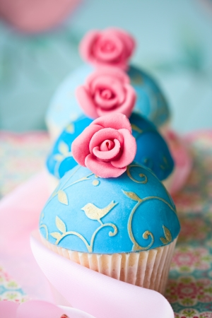 Vintage style cupcakes photo