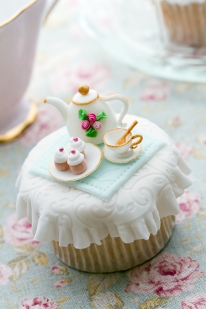 party pastries: Tea party cupcake Stock Photo
