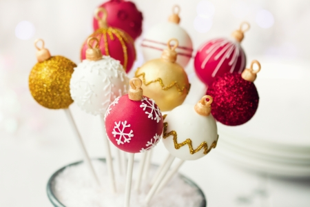 cake ball: Christmas cake pops Stock Photo